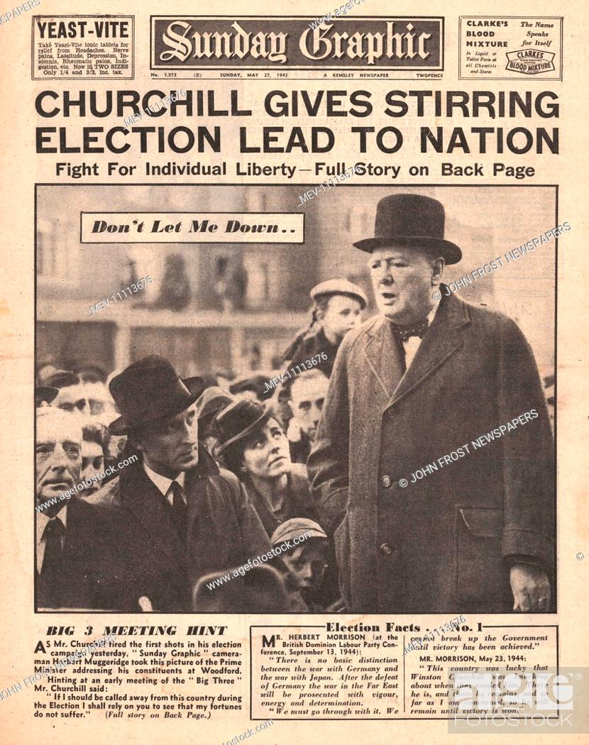 20 Sunday Graphic front page reporting Winston Churchill Begins ...