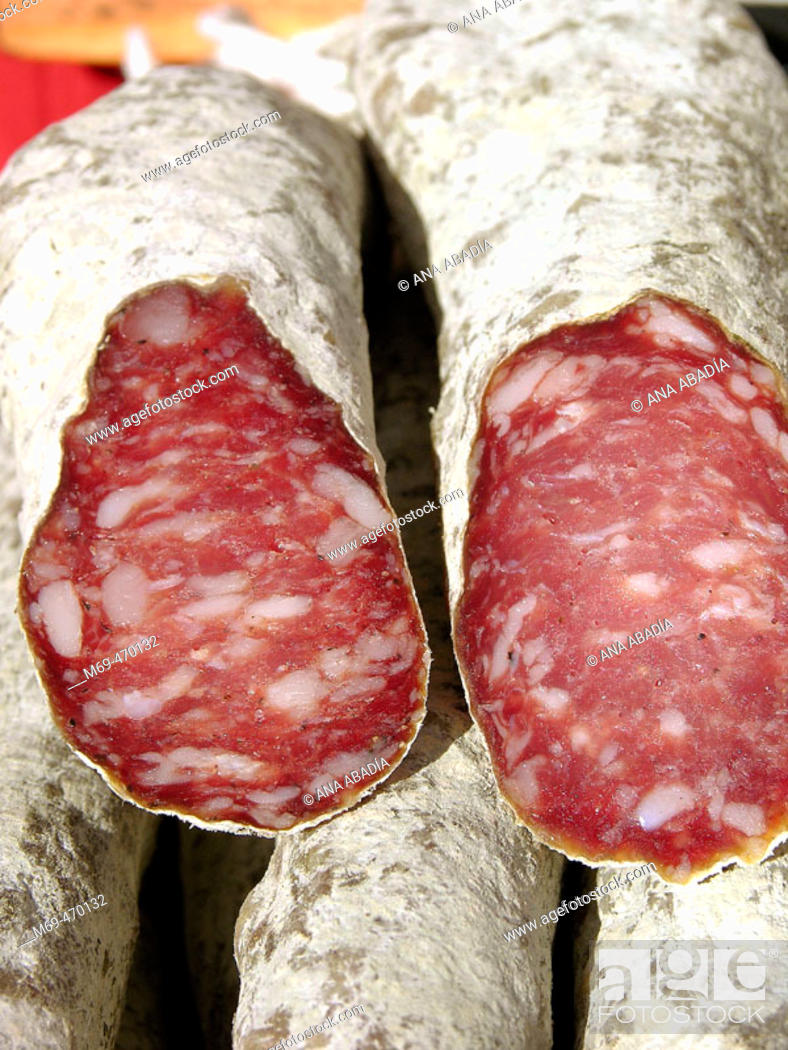 Stock Photo: Sausages for sale. Fira Avícola Raça Prat, El Prat de Llobregat, Barcelona province, Catalonia, Spain.