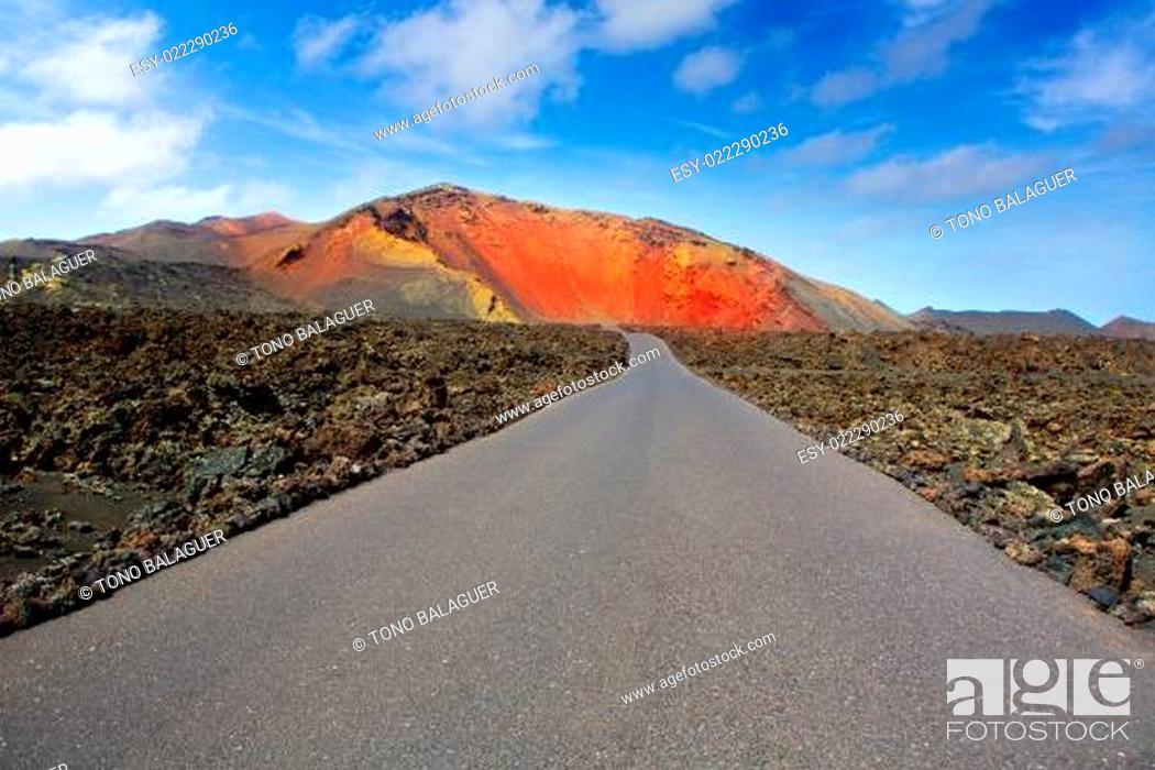 Stock Photo: Lanzarote Timanfaya Fire Mountains road.