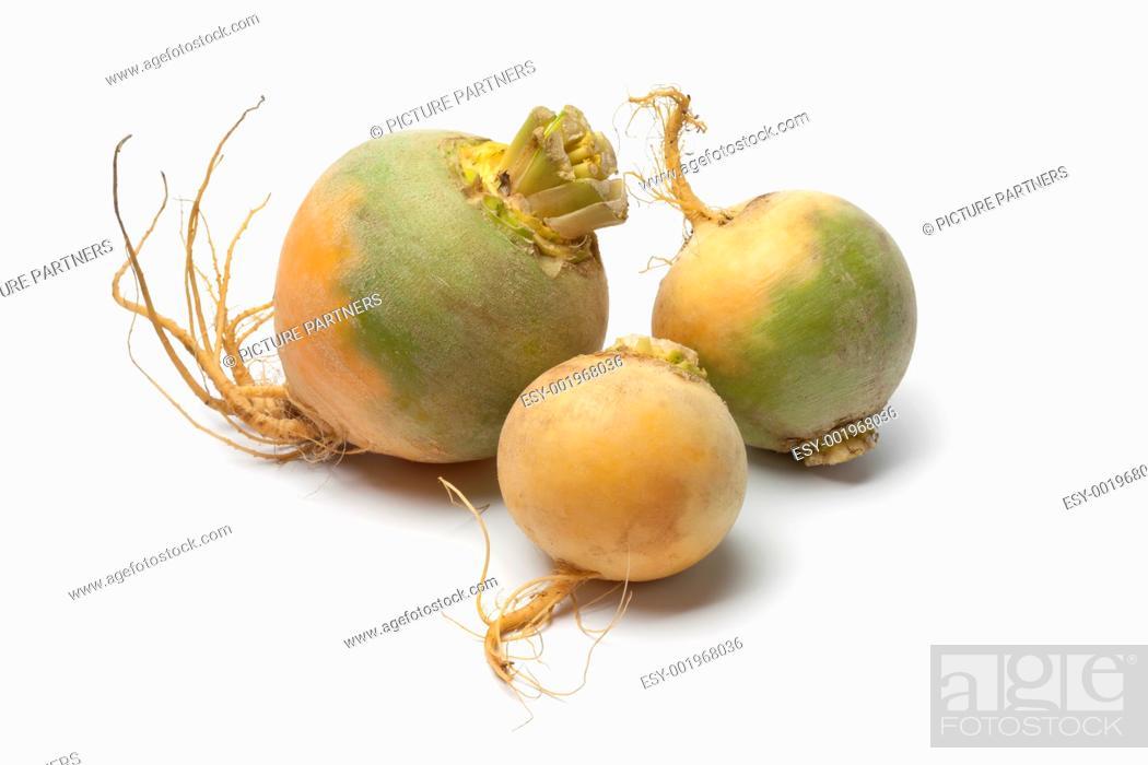 Photo de stock: Yellow turnips on white background.
