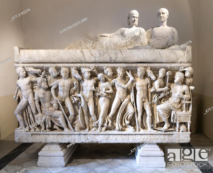 Stock Photo: Roman period, marble sarcophagus depicting the life of Achillies, first half of the 3rd century AD. Capitoline Museums. Rome, Italy.