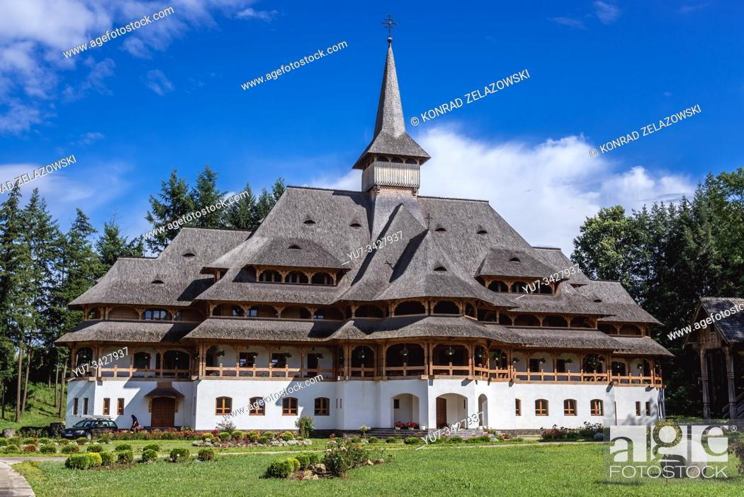 Stock Photo: One of the buildings of Sapanta-Peri Monastery located in Livada Dendrological Park in Sapanta village, Maramures County of Romania.
