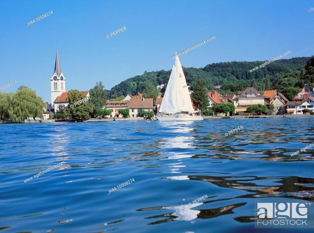 Imagen: 10508274, Switzerland, Europe, Thurgau, lake Constance, lake, sea, Untersee, Berlingen, view, village, water, sail boat,.