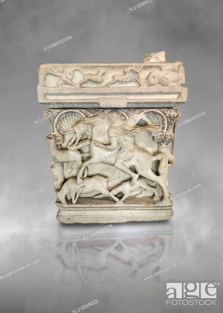 Stock Photo: End panel of a Roman relief sculpted sarcophagus with kline couch lid, Columned Sarcophagi of Asia Minor. . style typical of Sidamara, 3rd Century AD.