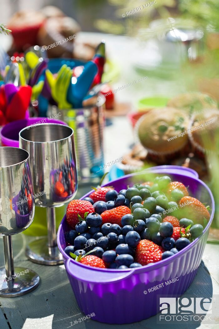 Stock Photo: Celebration table. Colorful sets.