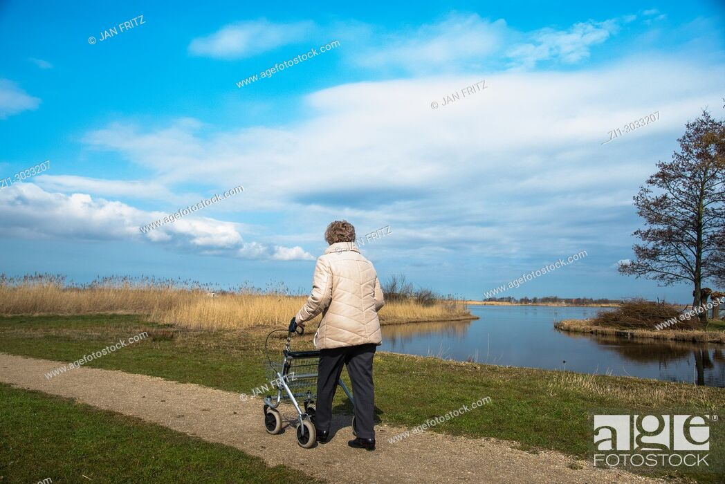 Stock Photo: old woman walking with aid at small path alongside a lake in Wormer, Holland.