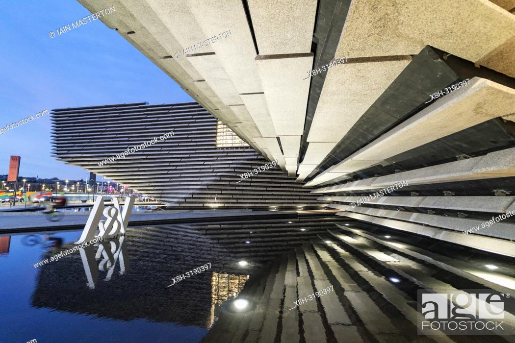 Stock Photo: Exterior view of new V&A Museum in the evening in Dundee, Scotland, UK. Architect Kengo Kuma.