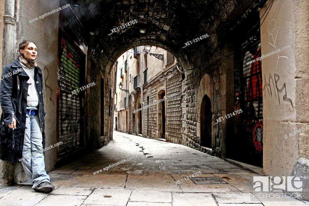 Stock Photo: Volta del Remei, Jewish Quarter, Gothic Quarter, Barcelona, Catalonia, Spain.