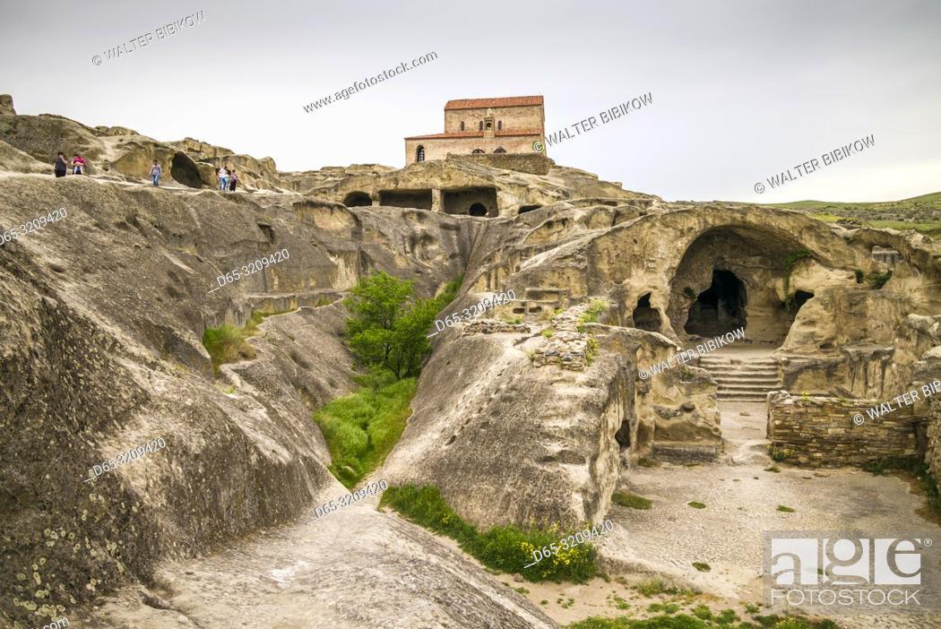 Stock Photo: Georgia, Uplistsikhe, 7th century cave city, high angle view.