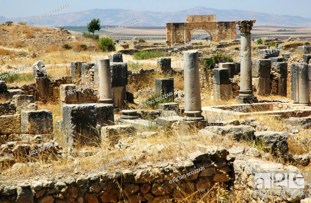 Stock Photo: Volubilis (Morocco): the archaeological site.