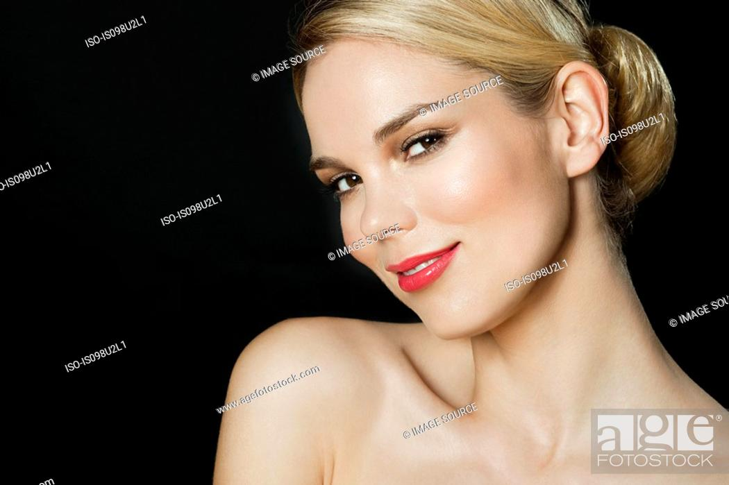 Stock Photo: Young blonde woman, portrait.