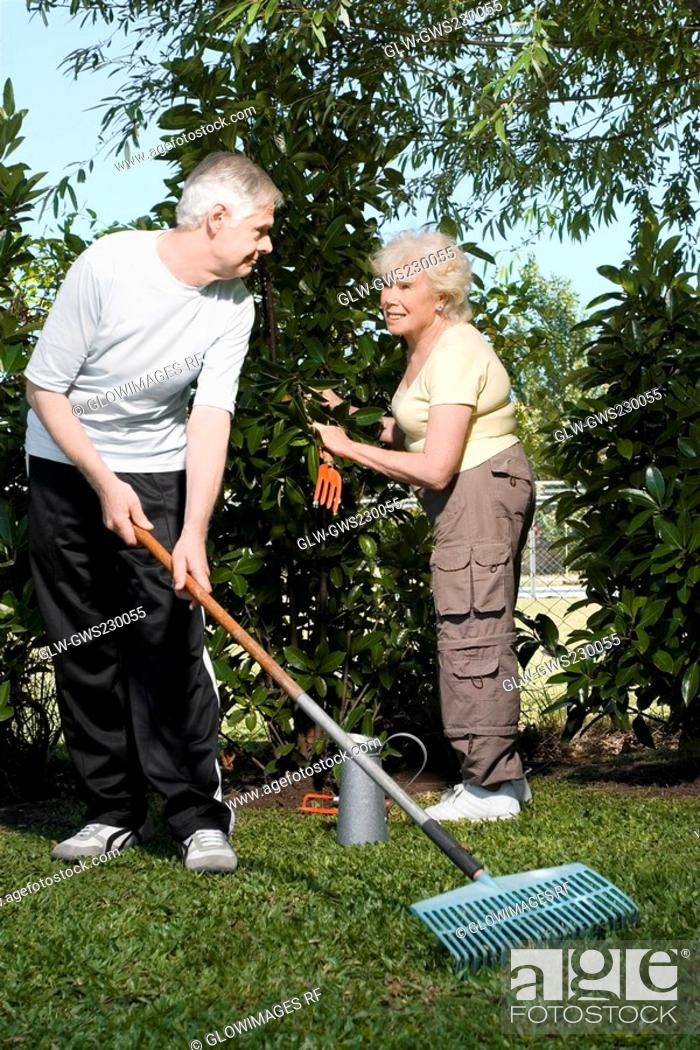 Stock Photo: Senior couple gardening together.
