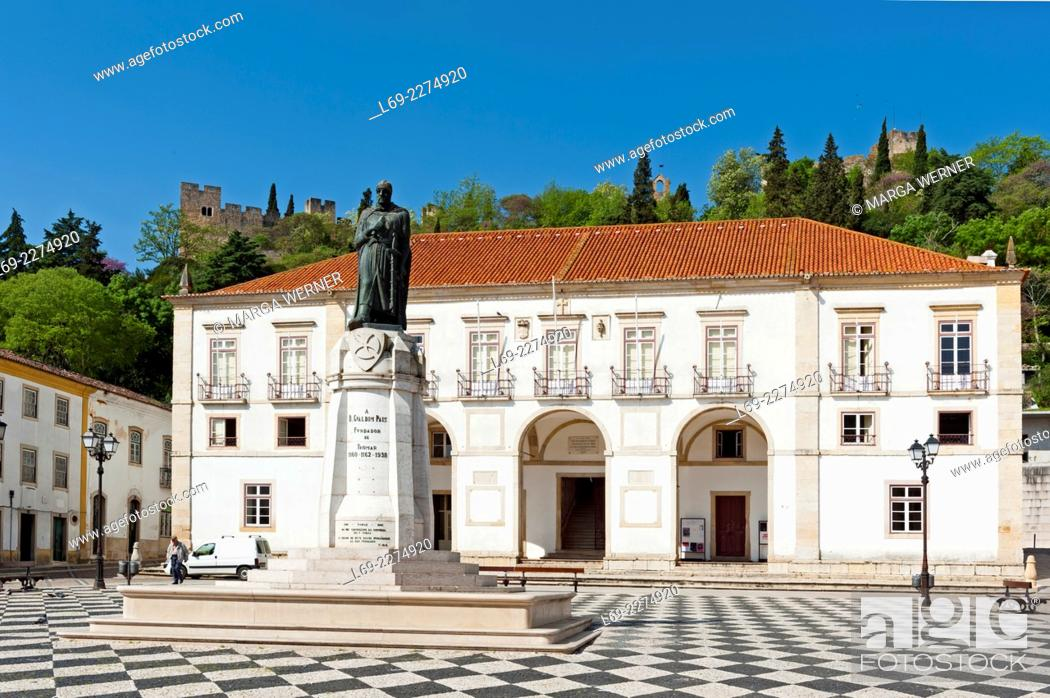 Stock Photo: Praca da Republica, Town Hall and Statue of Gualdim Pais, founder of Tomar, Fortress and Convent of Christ in background, Santarem District, Portugal, Europe.