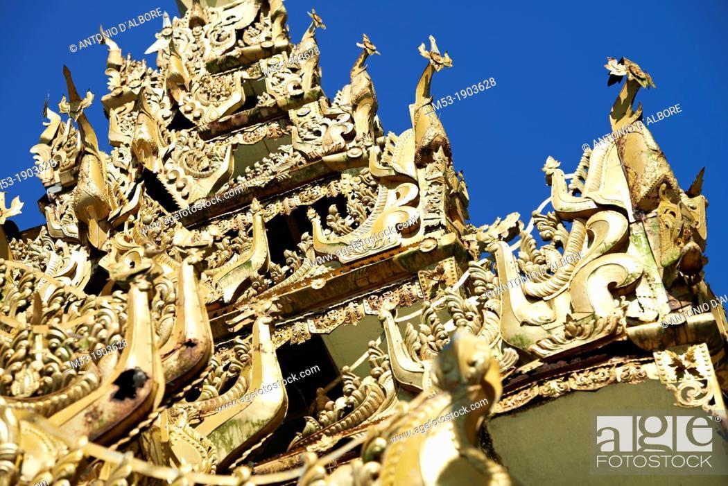 Stock Photo: Detail of a Buddhist decoration at Kyauktan Paya temple  Kyauktan town  Thanlyin District  Yangon Division  Myanmar.