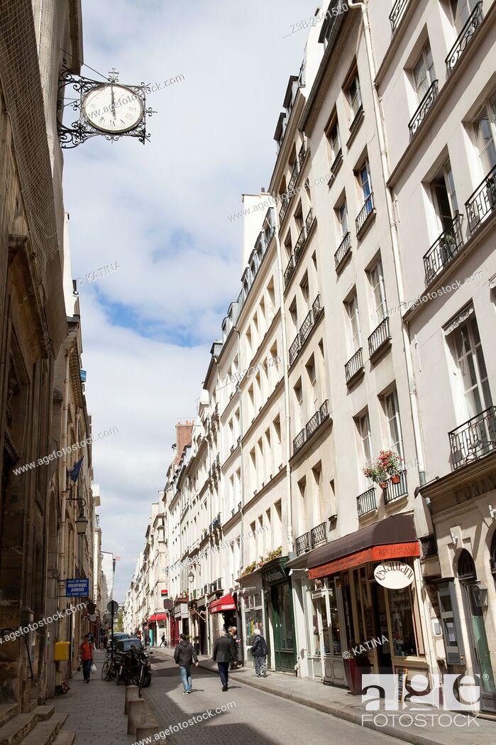 Imagen: Rue Saint-Louis en L'ile, Ile Saint-Louis, Paris, France.