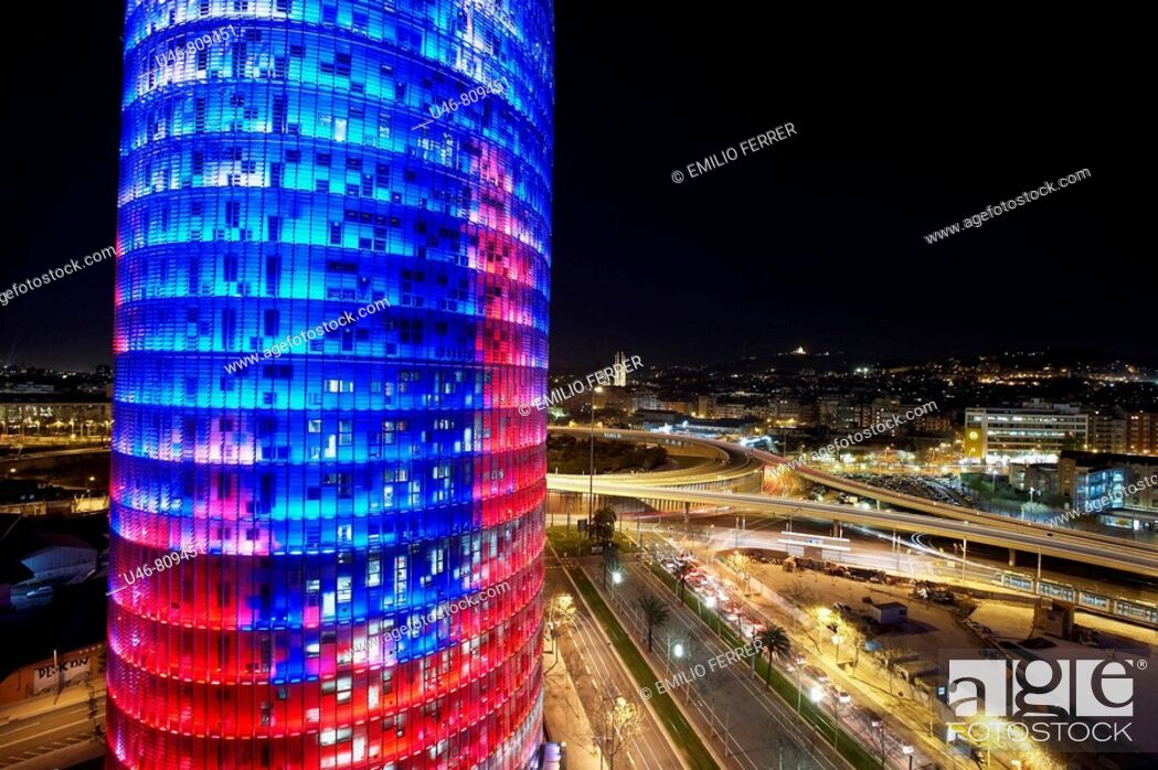 Stock Photo: Agbar Tower by Jean Nouvel, Barcelona. Catalonia, Spain.