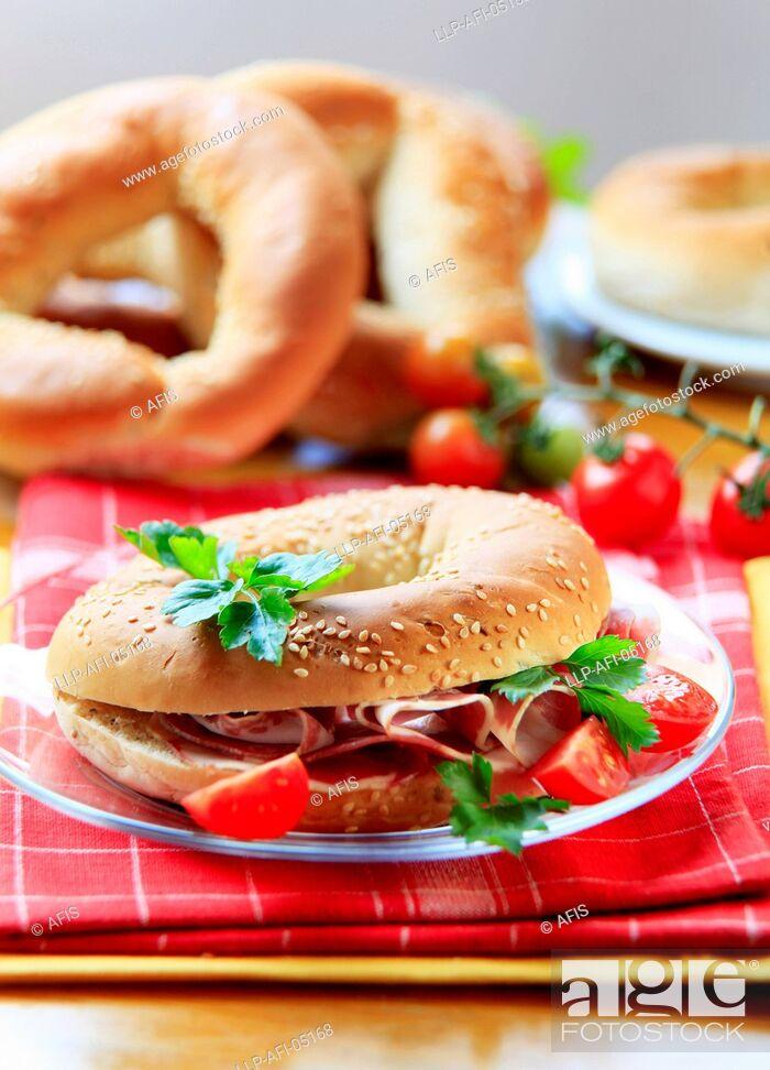 Stock Photo: Bagel with ham.