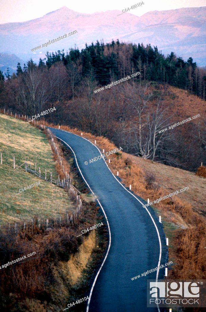 Stock Photo: Road. Pyrenees. Navarra. Spain.