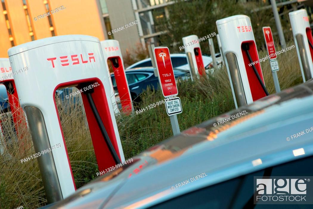 Tesla Supercharger station stalls at the Qualcomm parking