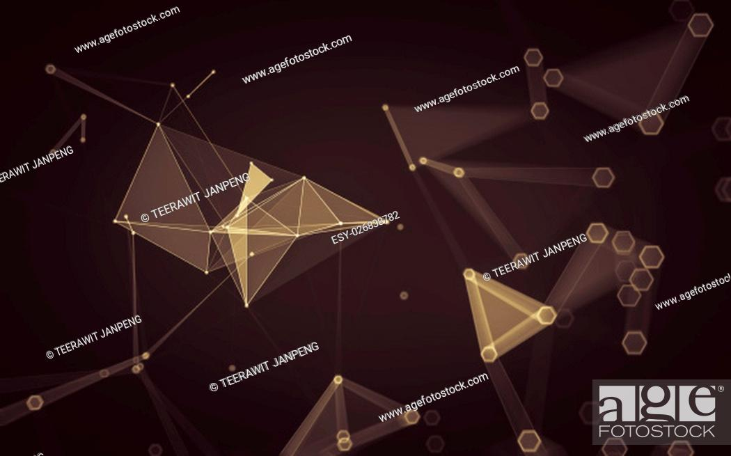 Stock Photo: Abstract polygonal space low poly dark background with connecting dots and lines. Connection structure. 3d rendering.