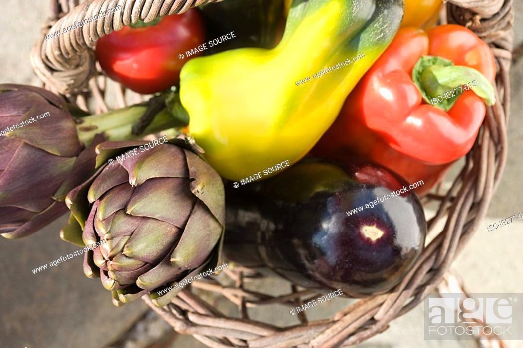 Stock Photo: Basket of vegtables.