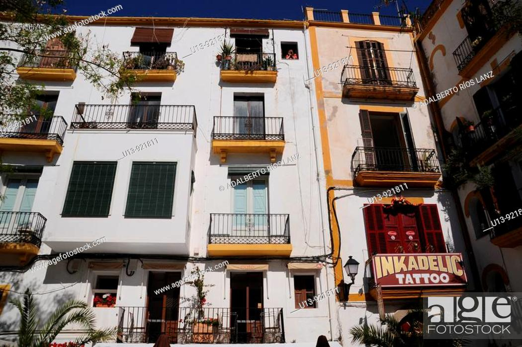 Stock Photo: Residential apartment buildings, Dalt Vila old town, Ibiza, Balearic Islands, Spain.