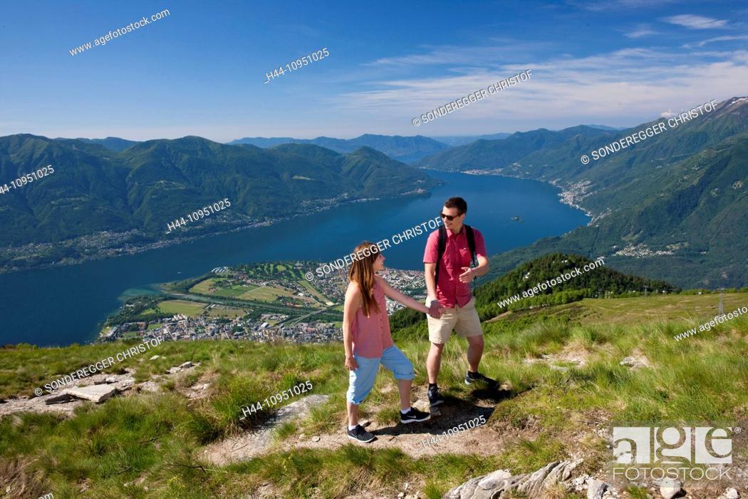 Stock Photo: Switzerland, Europe, canton, TI, Ticino, Southern Switzerland, mountain, mountains, lake, walking, hiking, view, Locarno, Cardada, Cimetta, couple, man, woman.
