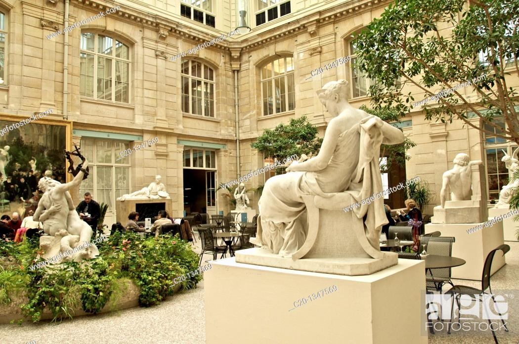 Stock Photo: Museum coffee shop in the foreground : a statue by Simon Mansion 1773 1854 , Diana the hunteress Beaux Arts Museum ROUEN Normandy 76 France.