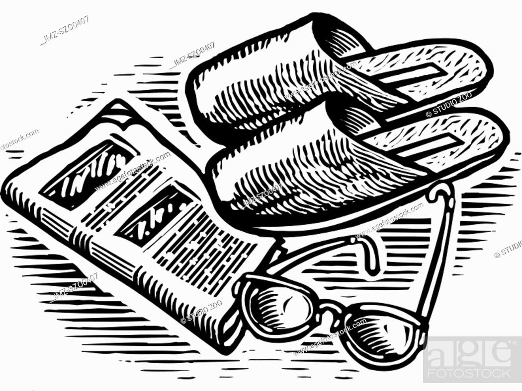 Stock Photo: An black and white illustration of slippers, glasses, and newspaper.
