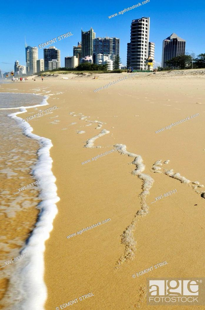 Stock Photo: Beach at Surfers Paradise, Gold Coast, Queensland, Australia.