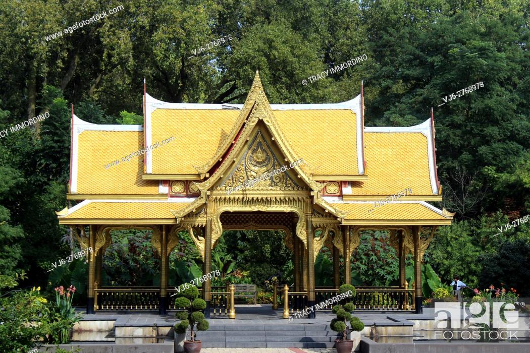 Stock Photo: The Thai Pavilion at the Olbrich Botanical Gardens in Madison, Wisconsin, USA.
