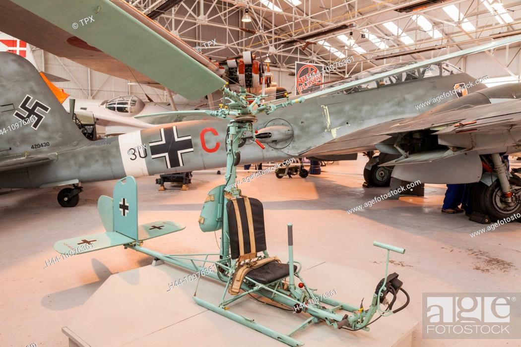 Stock Photo: England, Shropshire, Cosford Museum, FA-330 German Bachstelza Light Reconnaissance Plane.