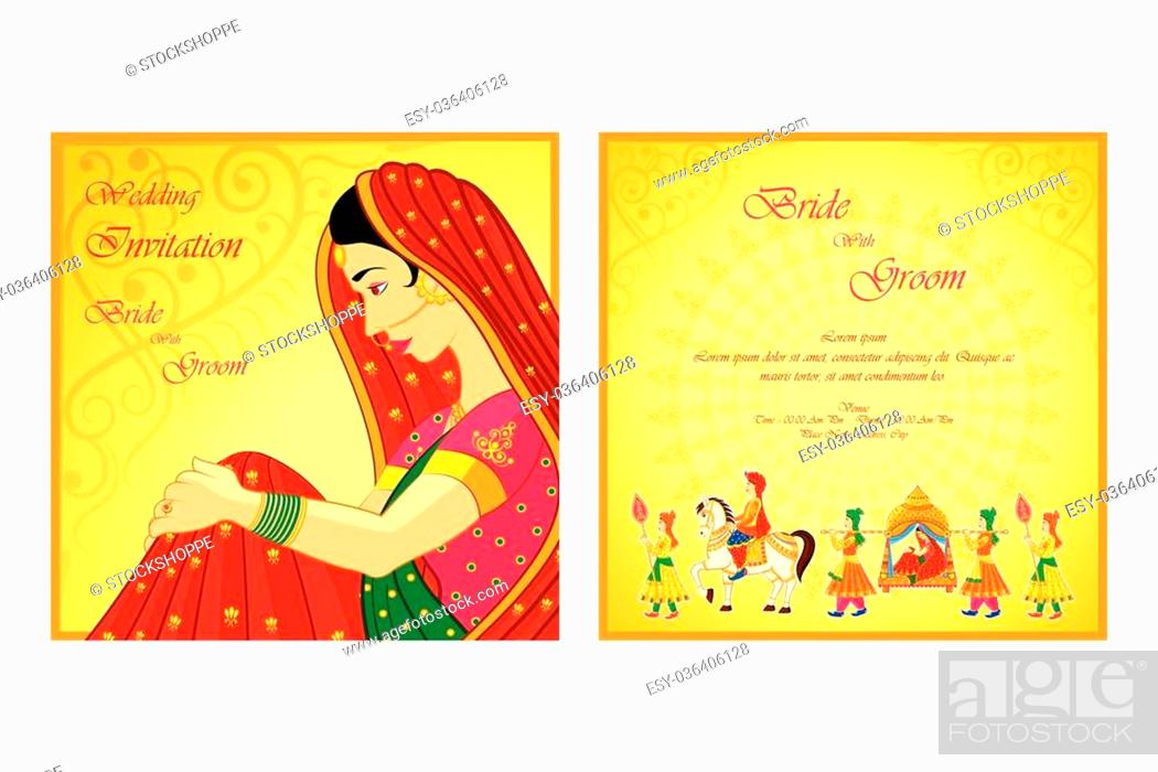 Vector illustration of indian wedding invitation card stock vector stock vector vector illustration of indian wedding invitation card stopboris Gallery