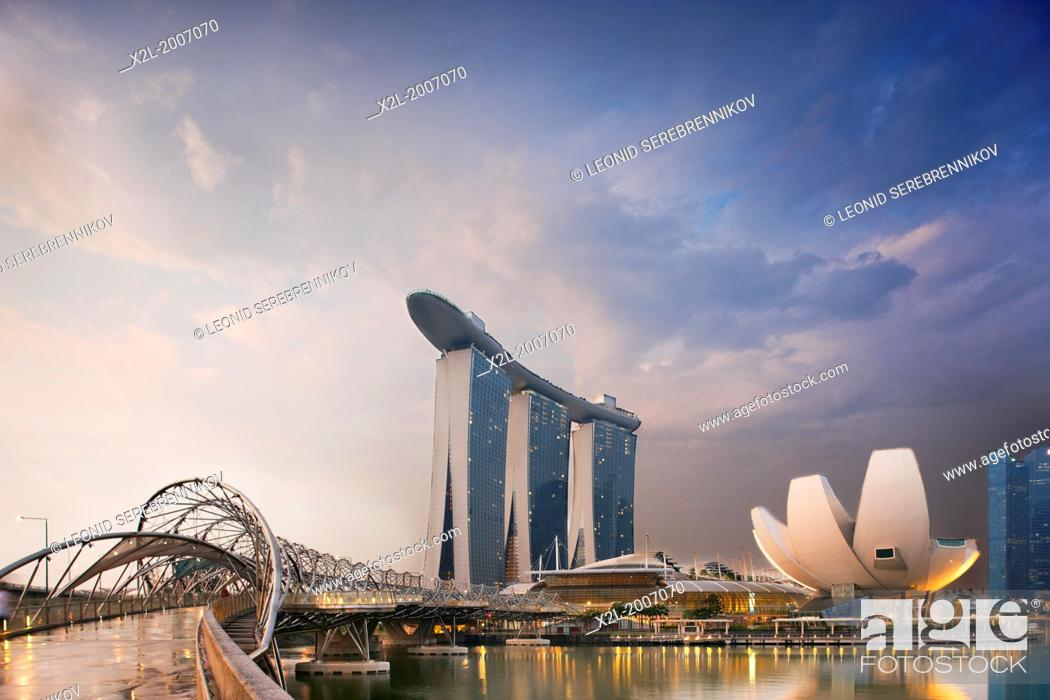 Stock Photo: Helix Bridge and Marina Bay Sands Hotel, Singapore.