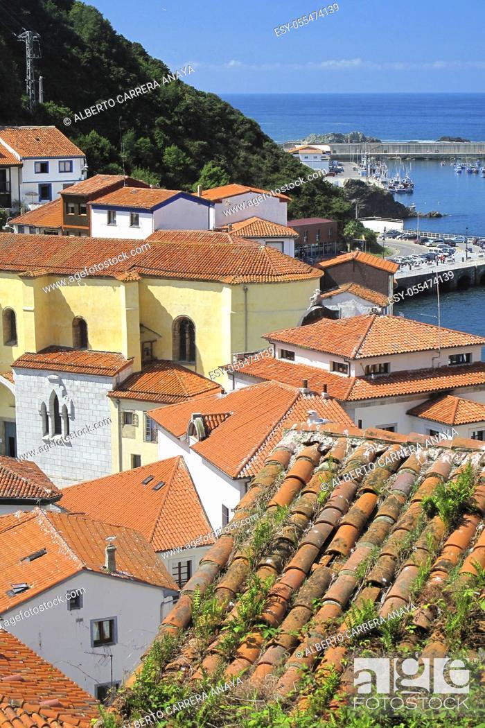 Stock Photo: Cudillero Fishing Town and fishing Port, Cudillero, Asturias, Spain, Europe.