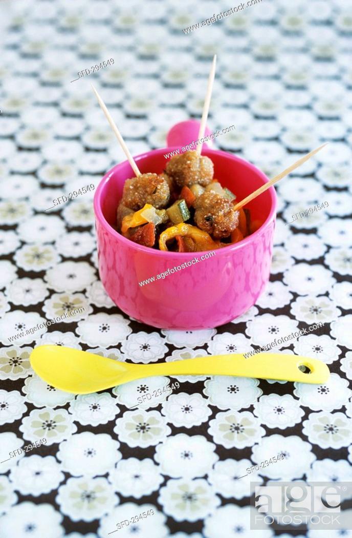 Stock Photo: Ratatouille with pork meatballs.