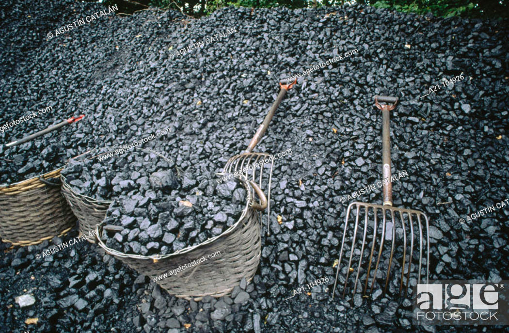 Stock Photo: Coal for steam locomotive. Mariefred, Sweden.