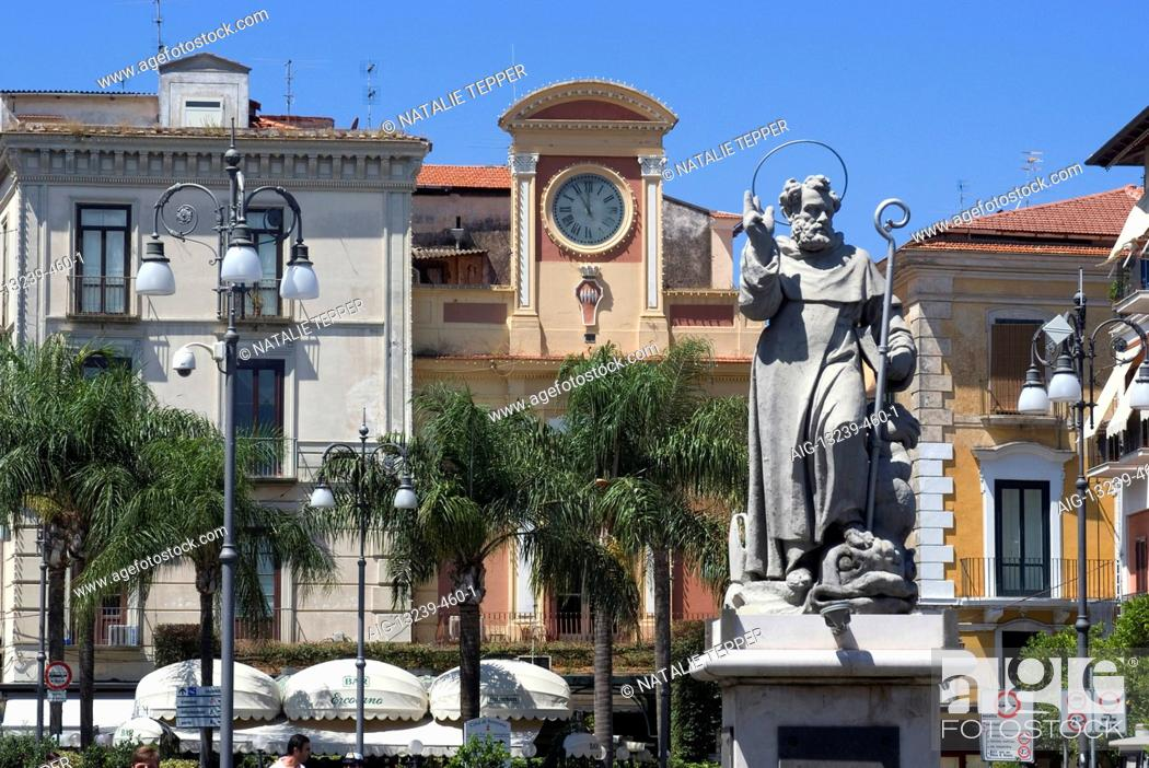 Stock Photo: Statue of St Anthony, Piazza Tasso, Sorrento, Campania, Italy, Europe.