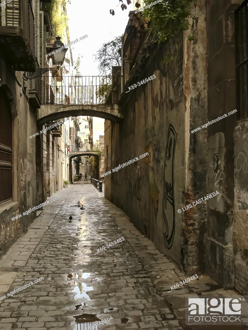 Stock Photo: Street. Gothic Quarter. Barcelona. Spain.