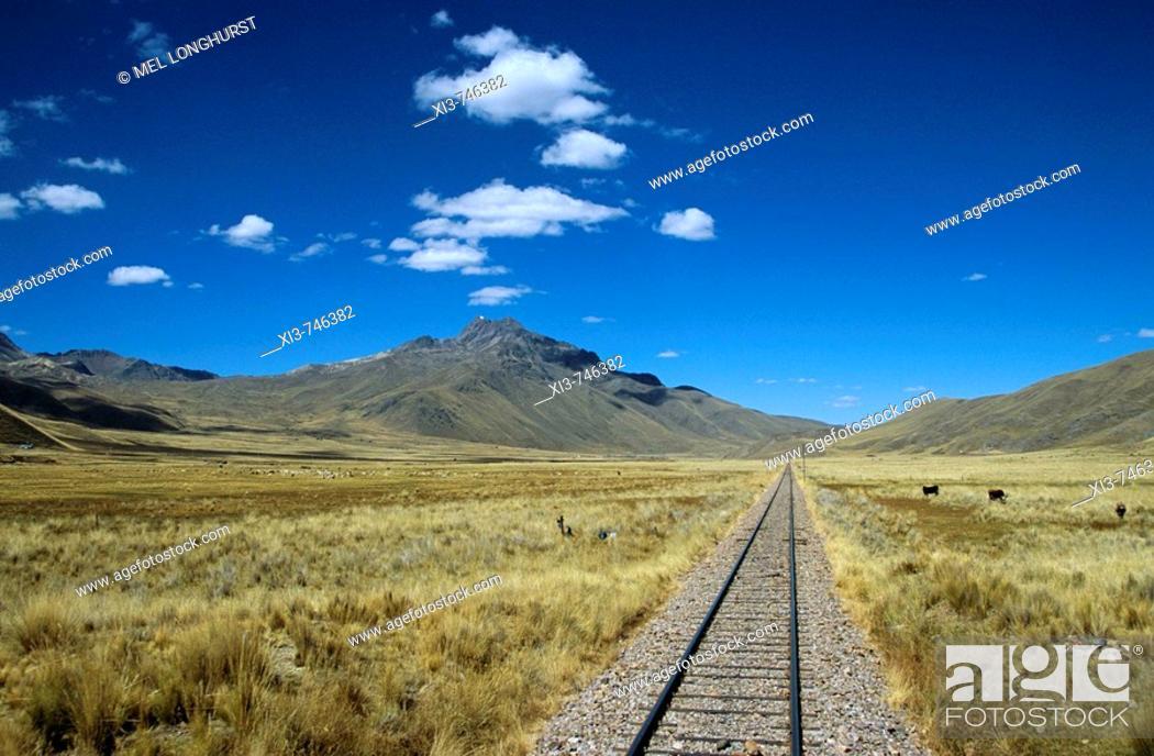 Stock Photo: Railway track through the Andes mountain range, Puno to Cusco Perurail train journey, Peru.