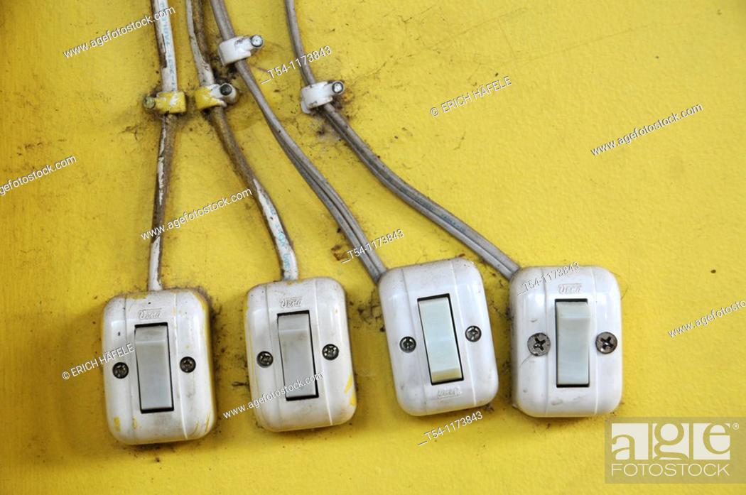 Stock Photo: Light switch in Cambodia.