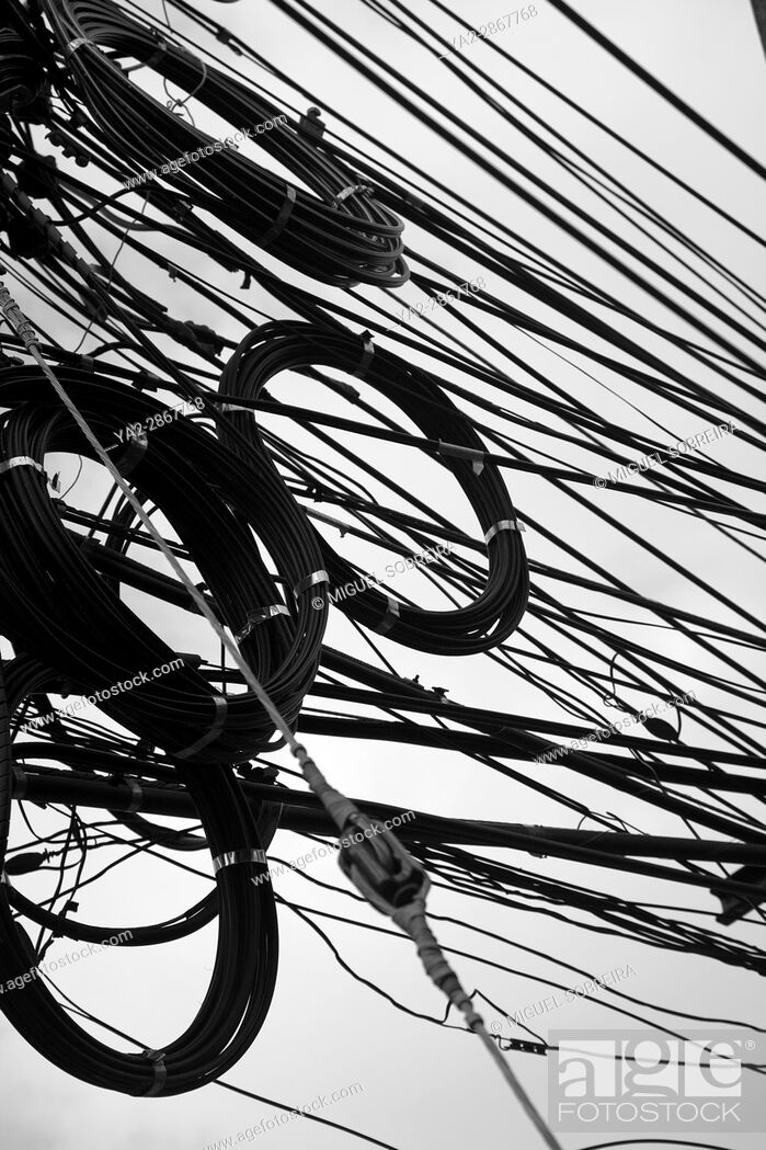Stock Photo: Overhead Cables Thailand.