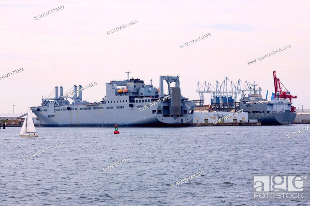 Stock Photo: Industrial ship docked at a harbor, Inner Harbor, Baltimore, Maryland, USA.