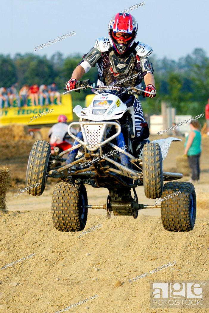 Stock Photo: ATV All Terrain Vechiles participate in off road motocross type of race.