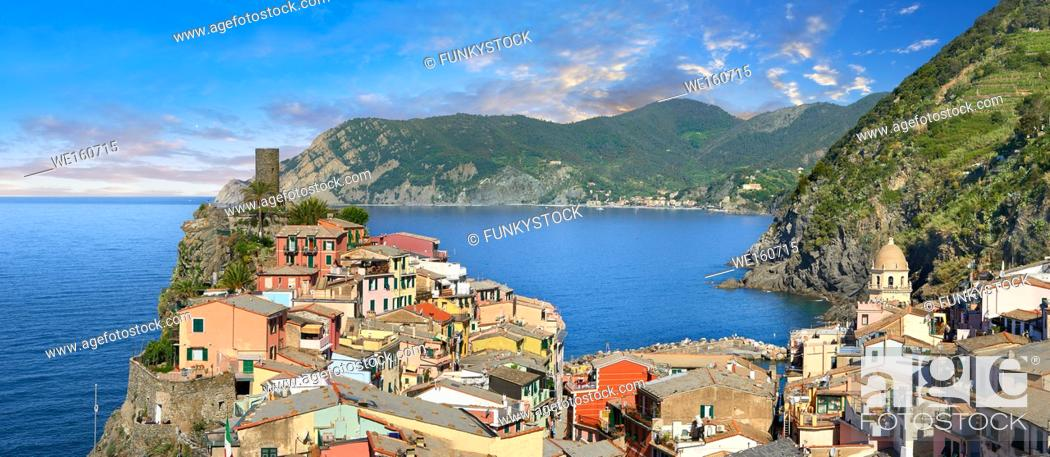 Stock Photo: Fishing village of Vernazza at sunrise, Cinque Terre National Park, Ligurian Riviera, Italy. A UNESCO World Heritage Site.