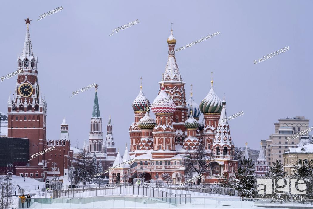 Stock Photo: St. Basil Cathedral on a snowfall. Moscow, Russia.
