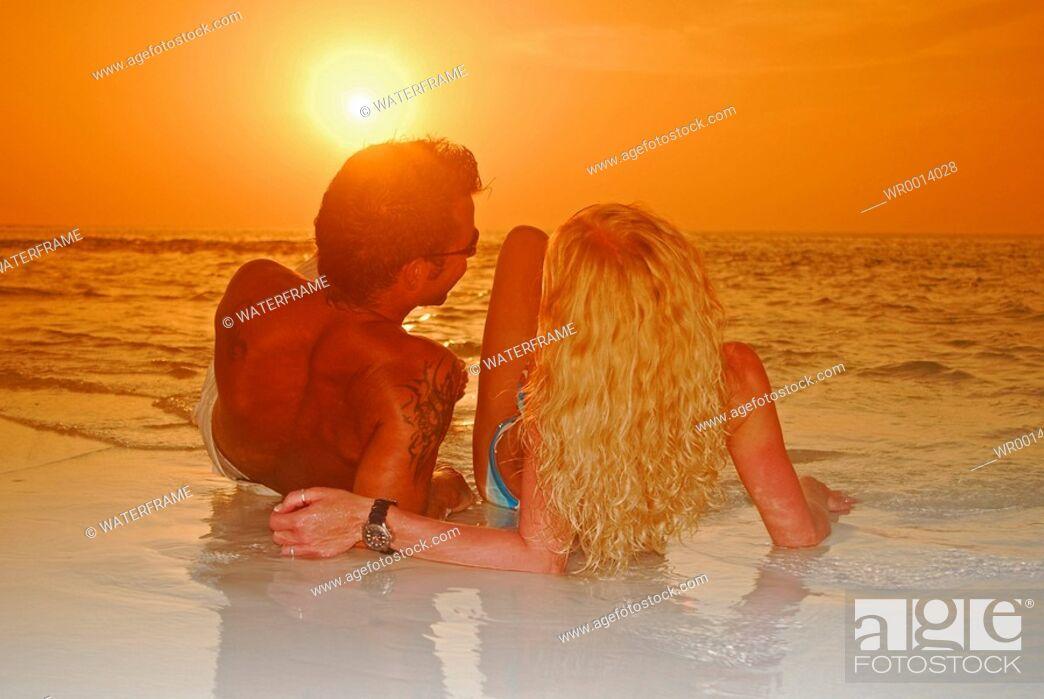 Stock Photo: Sunset at Beach, Indian Ocean, Maldives.