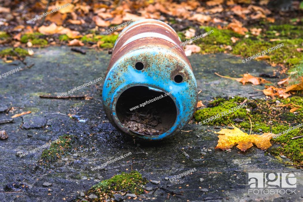Stock Photo: Funny shape of metal container in Pripyat ghost city of Chernobyl Nuclear Power Plant Zone of Alienation around nuclear reactor disaster in Ukraine.