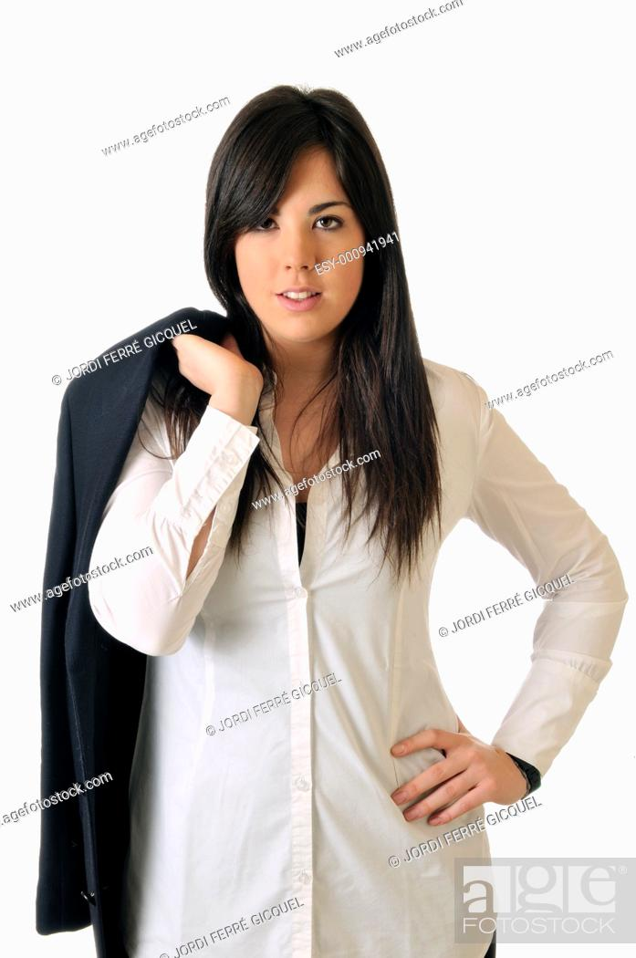 Stock Photo: Young brown woman smiling on white background.