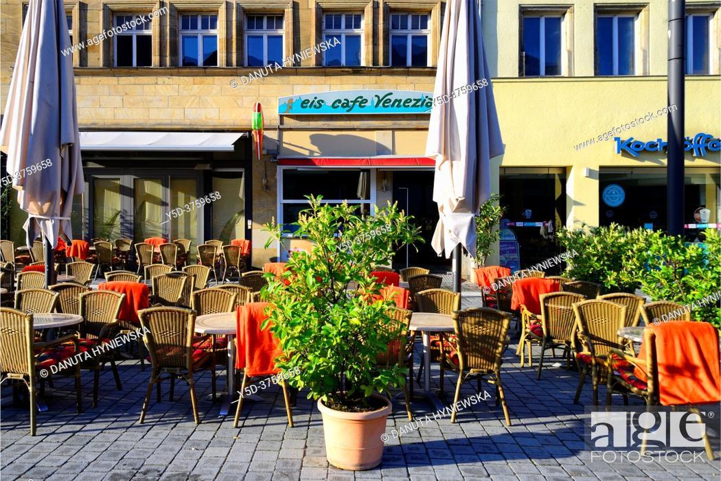 Stock Photo: Street scene, Maximilianstrasse - main touristic promenade in old town, Bayreuth, capital of Upper Franconia, Bavaria, Bayern, Germany, Europe.